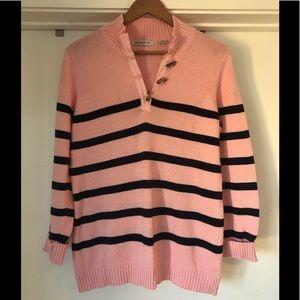 Liz Claiborne Pink Striped V Neck Sweater